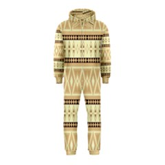 Fancy Tribal Border Pattern Beige Hooded Jumpsuit (kids)