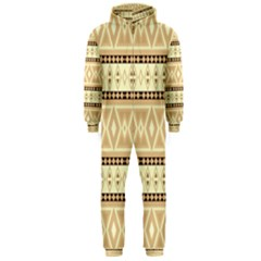 Fancy Tribal Border Pattern Beige Hooded Jumpsuit (Men)