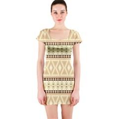 Fancy Tribal Border Pattern Beige Short Sleeve Bodycon Dresses