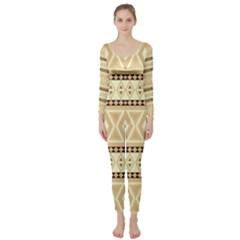 Fancy Tribal Border Pattern Beige Long Sleeve Catsuit