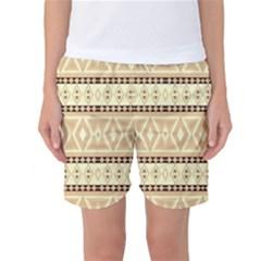 Fancy Tribal Border Pattern Beige Women s Basketball Shorts