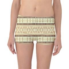 Fancy Tribal Border Pattern Beige Boyleg Bikini Bottoms