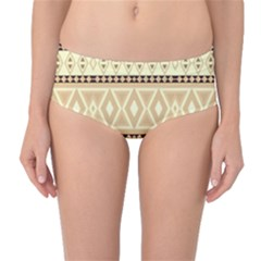 Fancy Tribal Border Pattern Beige Mid-Waist Bikini Bottoms