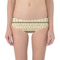 Fancy Tribal Border Pattern Beige Classic Bikini Bottoms
