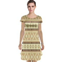 Fancy Tribal Border Pattern Beige Cap Sleeve Nightdresses