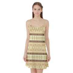 Fancy Tribal Border Pattern Beige Satin Night Slip