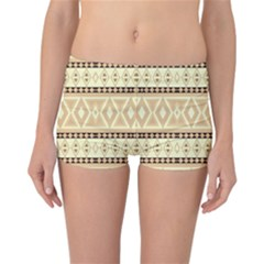 Fancy Tribal Border Pattern Beige Reversible Boyleg Bikini Bottoms