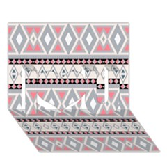 Fancy Tribal Border Pattern Soft I Love You 3D Greeting Card (7x5)