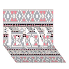 Fancy Tribal Border Pattern Soft BOY 3D Greeting Card (7x5)