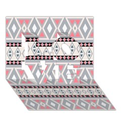 Fancy Tribal Border Pattern Soft Love 3d Greeting Card (7x5)