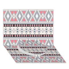 Fancy Tribal Border Pattern Soft Circle Bottom 3D Greeting Card (7x5)