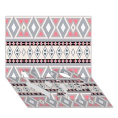 Fancy Tribal Border Pattern Soft Love Bottom 3d Greeting Card (7x5)