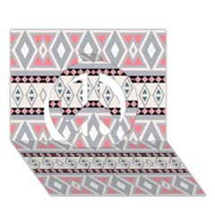Fancy Tribal Border Pattern Soft Peace Sign 3d Greeting Card (7x5)