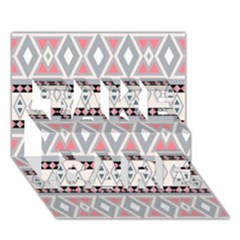 Fancy Tribal Border Pattern Soft Take Care 3d Greeting Card (7x5)