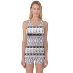 Fancy Tribal Border Pattern Soft Women s Boyleg One Piece Swimsuits