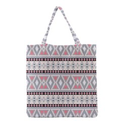 Fancy Tribal Border Pattern Soft Grocery Tote Bags