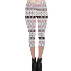 Fancy Tribal Border Pattern Soft Capri Leggings