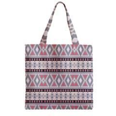 Fancy Tribal Border Pattern Soft Zipper Grocery Tote Bags