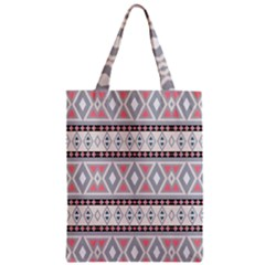 Fancy Tribal Border Pattern Soft Zipper Classic Tote Bags