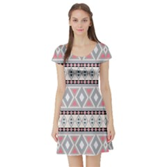 Fancy Tribal Border Pattern Soft Short Sleeve Skater Dresses