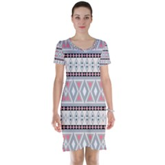 Fancy Tribal Border Pattern Soft Short Sleeve Nightdresses