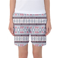 Fancy Tribal Border Pattern Soft Women s Basketball Shorts