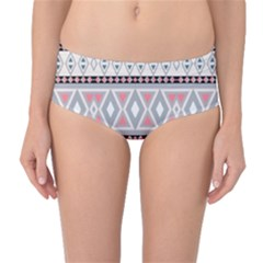Fancy Tribal Border Pattern Soft Mid-Waist Bikini Bottoms