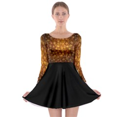 Gold Stars Long Sleeve Skater Dress