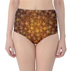 Gold Stars High-Waist Bikini Bottoms