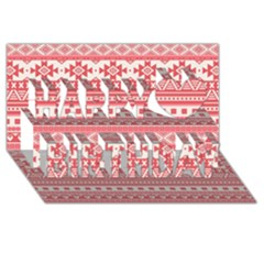 Fancy Tribal Borders Pink Happy Birthday 3D Greeting Card (8x4)