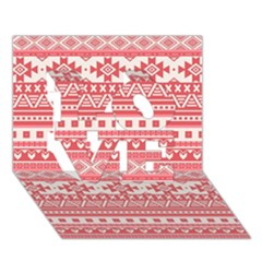Fancy Tribal Borders Pink Love 3d Greeting Card (7x5)