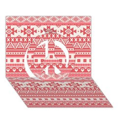 Fancy Tribal Borders Pink Peace Sign 3D Greeting Card (7x5)