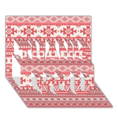 Fancy Tribal Borders Pink THANK YOU 3D Greeting Card (7x5)