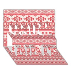 Fancy Tribal Borders Pink You Did It 3D Greeting Card (7x5)