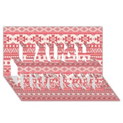Fancy Tribal Borders Pink Laugh Live Love 3D Greeting Card (8x4)