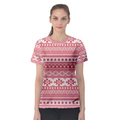 Fancy Tribal Borders Pink Women s Sport Mesh Tees