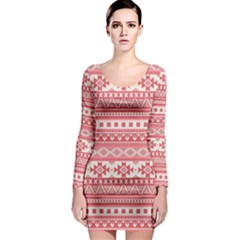 Fancy Tribal Borders Pink Long Sleeve Bodycon Dresses