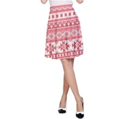Fancy Tribal Borders Pink A-Line Skirts