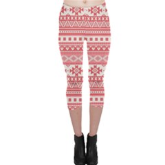 Fancy Tribal Borders Pink Capri Leggings