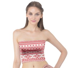Fancy Tribal Borders Pink Women s Tube Tops