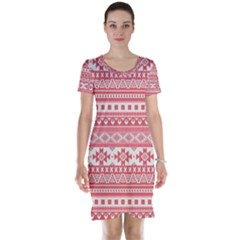 Fancy Tribal Borders Pink Short Sleeve Nightdresses
