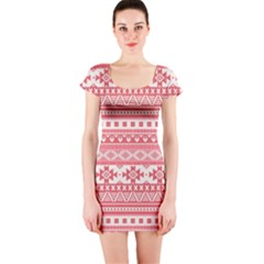 Fancy Tribal Borders Pink Short Sleeve Bodycon Dresses