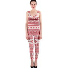 Fancy Tribal Borders Pink OnePiece Catsuits