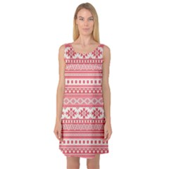 Fancy Tribal Borders Pink Sleeveless Satin Nightdresses