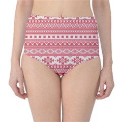 Fancy Tribal Borders Pink High-Waist Bikini Bottoms