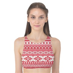 Fancy Tribal Borders Pink Tank Bikini Top