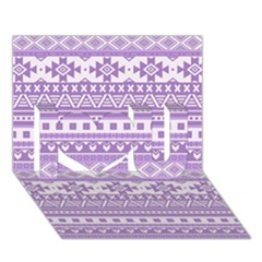 Fancy Tribal Borders Lilac I Love You 3d Greeting Card (7x5)