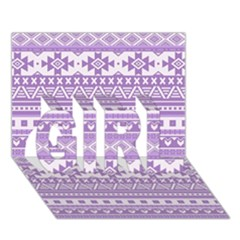 Fancy Tribal Borders Lilac GIRL 3D Greeting Card (7x5)