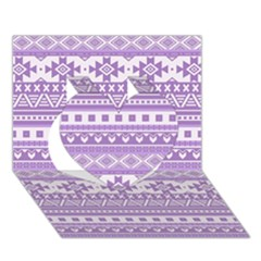 Fancy Tribal Borders Lilac Heart 3d Greeting Card (7x5)