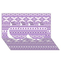 Fancy Tribal Borders Lilac Twin Hearts 3D Greeting Card (8x4)